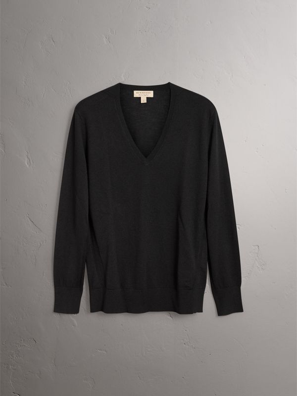 Check Detail Cashmere V-neck Sweater in Black - Women | Burberry - cell image 3