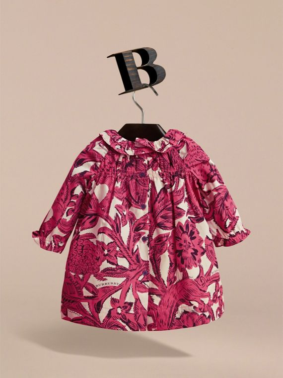 Beasts Print Cotton Smock Dress and Bloomers Set in Pink Azalea | Burberry - cell image 2