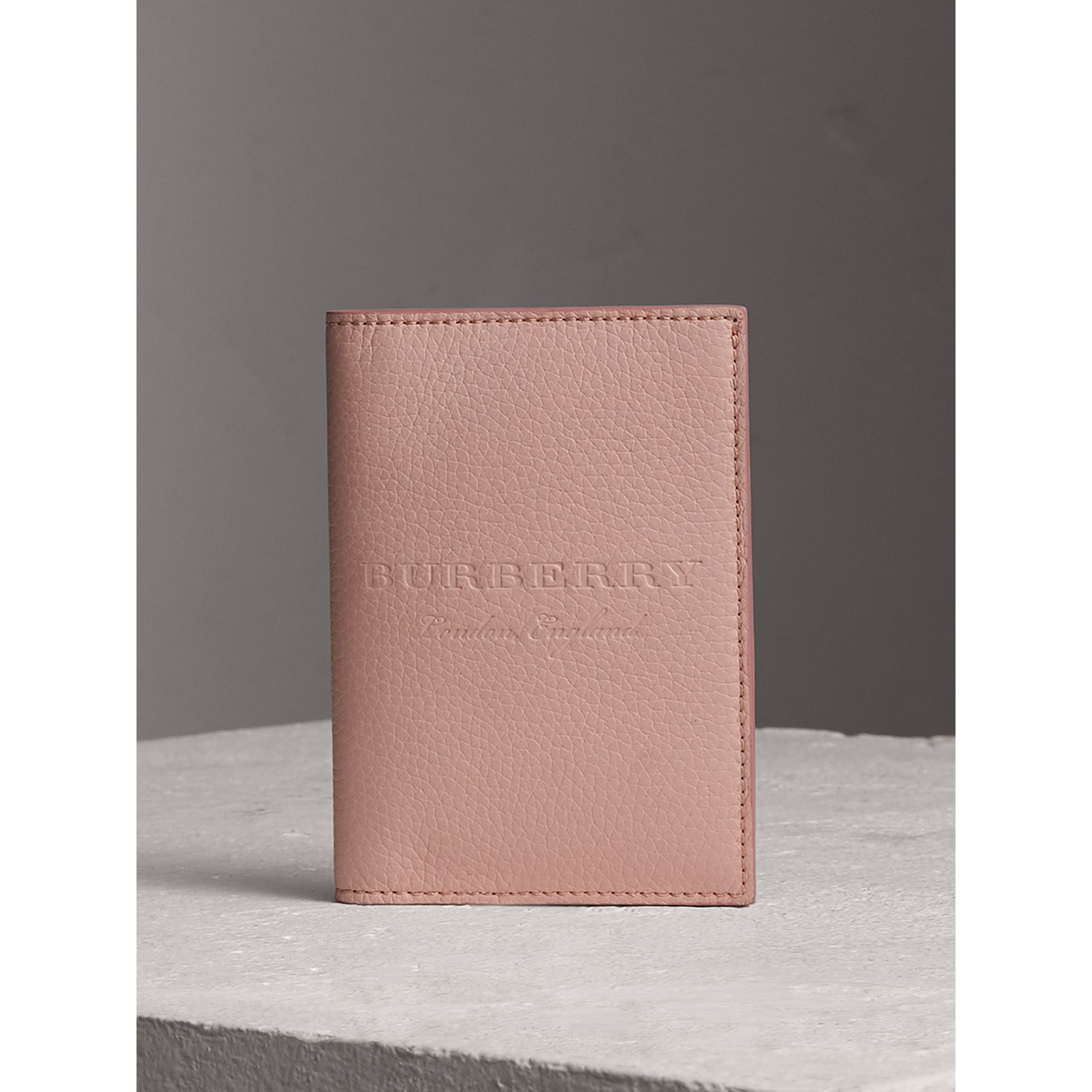 Embossed Leather Passport Holder in Pale Ash Rose | Burberry United Kingdom - gallery image 0