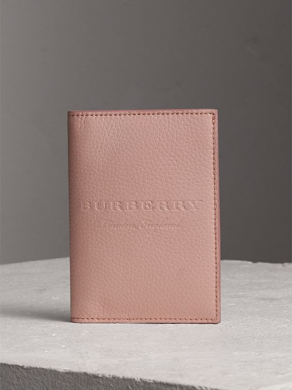 Embossed Leather Passport Holder in Pale Ash Rose