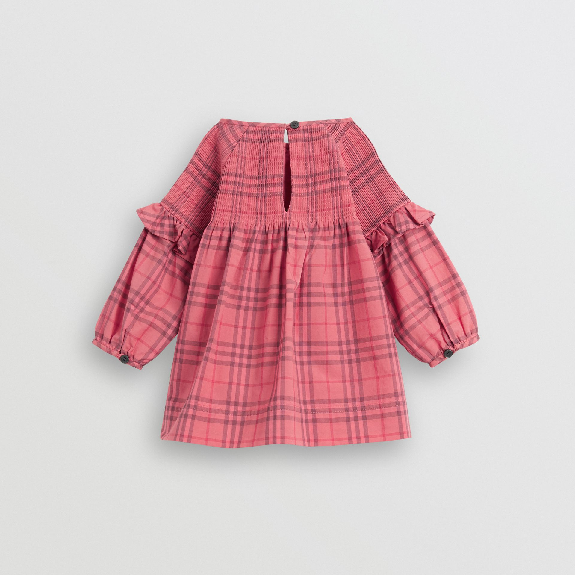 Ruffle Detail Check Cotton Dress in Coral Red - Children | Burberry - gallery image 3