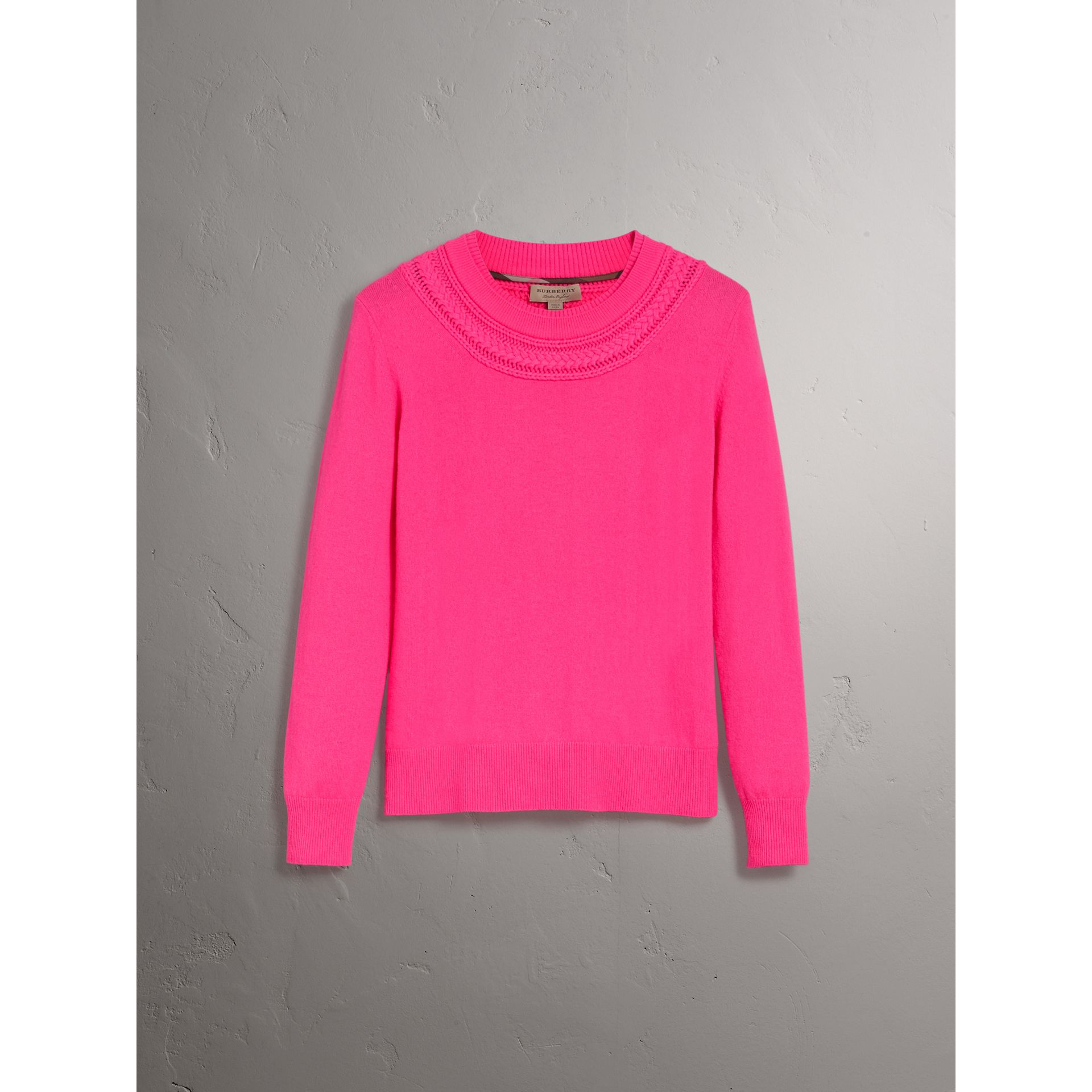 Cable Knit Yoke Cashmere Sweater in Bright Rose Pink - Women | Burberry United Kingdom - gallery image 3