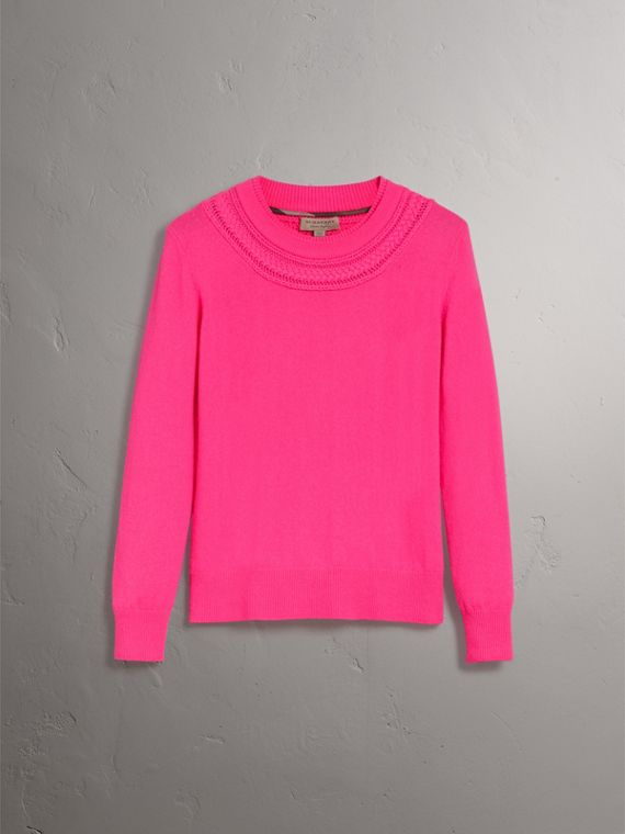 Cable Knit Yoke Cashmere Sweater in Bright Rose Pink - Women | Burberry - cell image 3