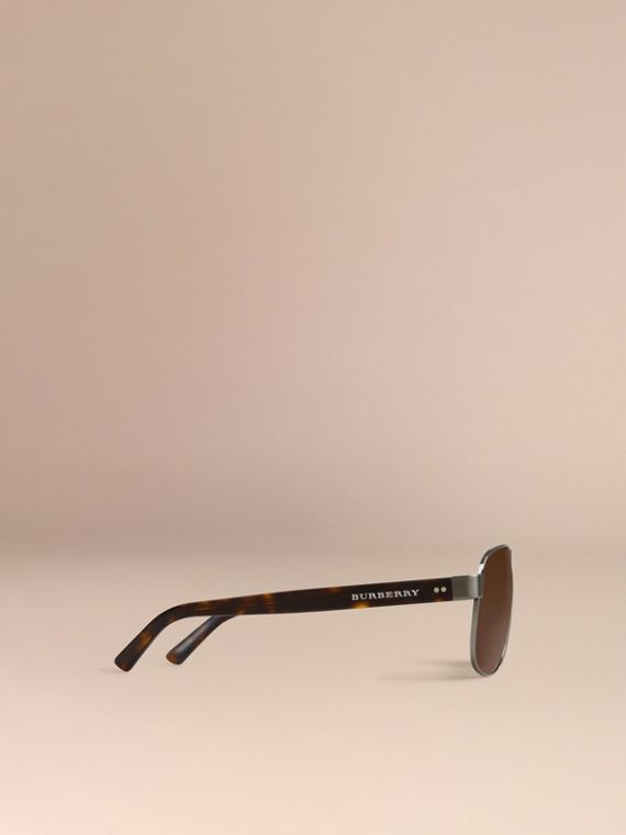 Brown Square Frame Aviator Sunglasses Brown - cell image 3
