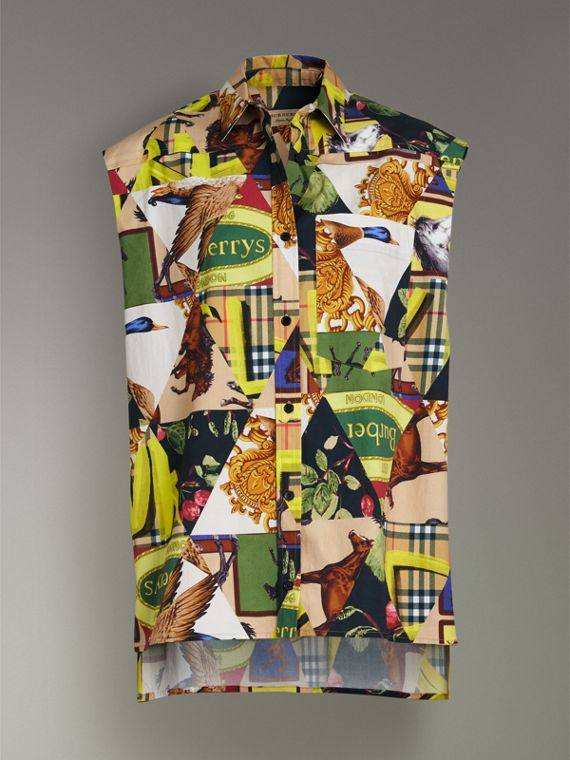 Sleeveless Archive Scarf Print Stretch Cotton Shirt in Bright Yellow - Women | Burberry United Kingdom - cell image 3