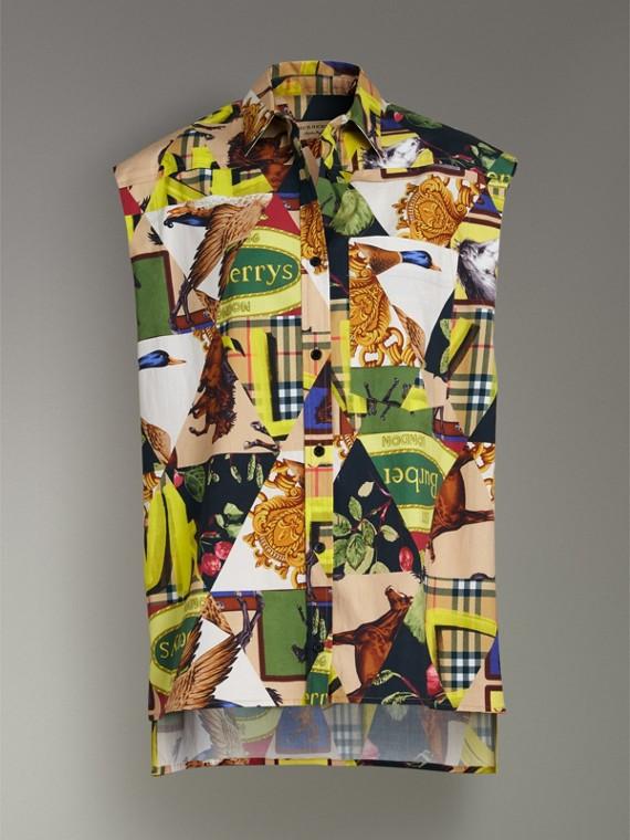Camicia smanicata in cotone stretch con motivi d'archivio (Giallo Intenso) - Donna | Burberry - cell image 3