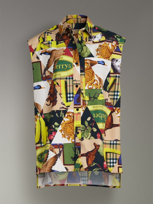 Sleeveless Archive Scarf Print Stretch Cotton Shirt in Bright Yellow - Women | Burberry - cell image 3