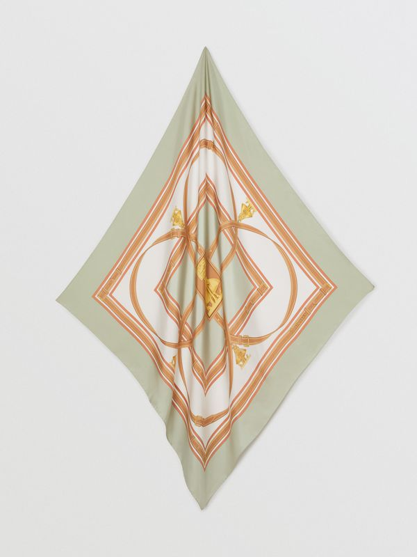 Archive Scarf Print Silk Square Scarf in Stone Green | Burberry Australia - cell image 3