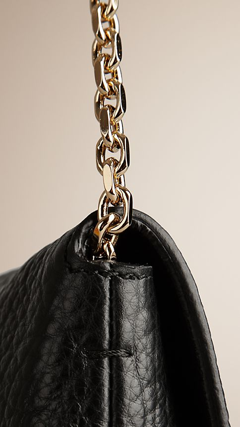 Black Medium Signature Grain Leather Clutch Bag - Image 7