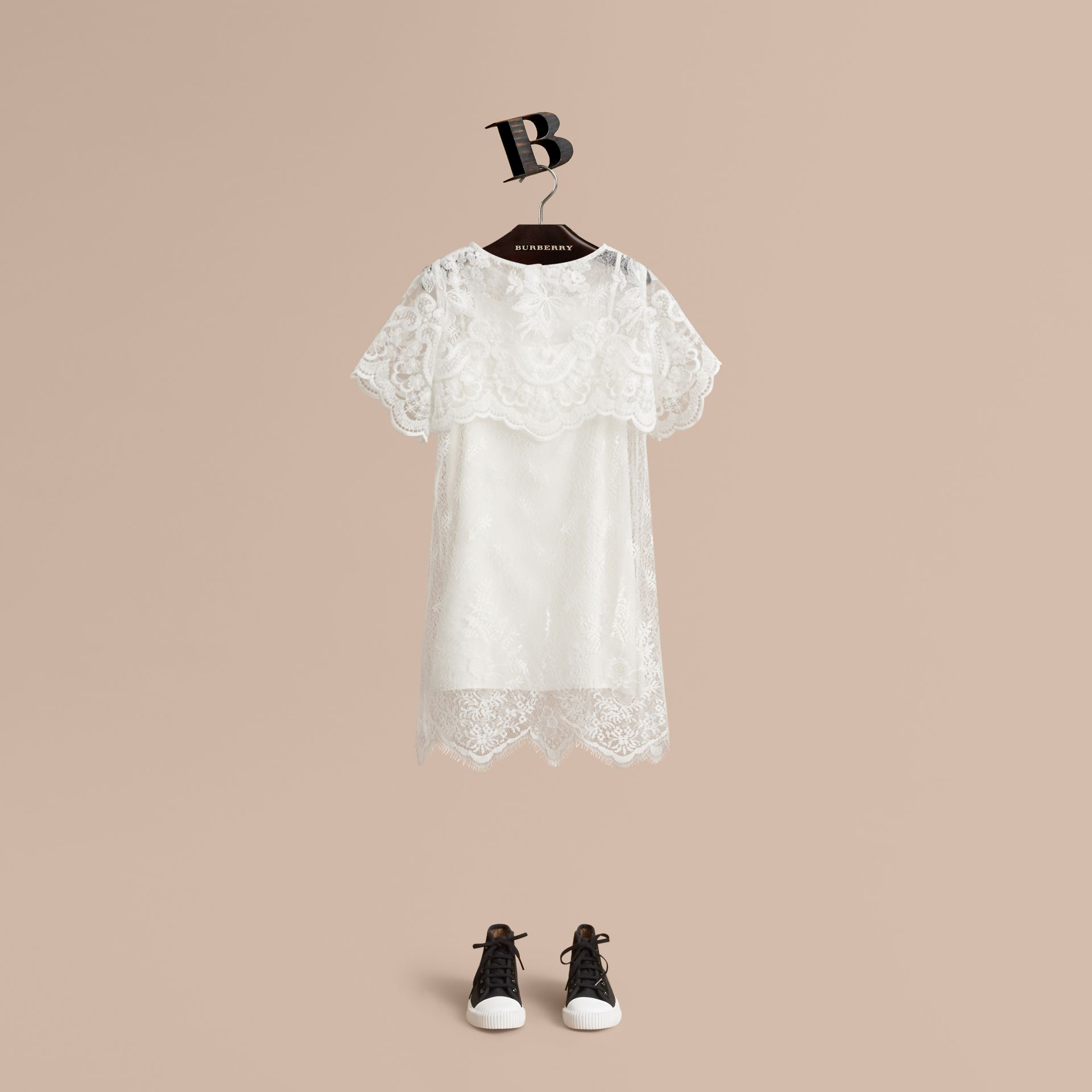 Layered Lace Shift Dress in White | Burberry Canada - gallery image 0