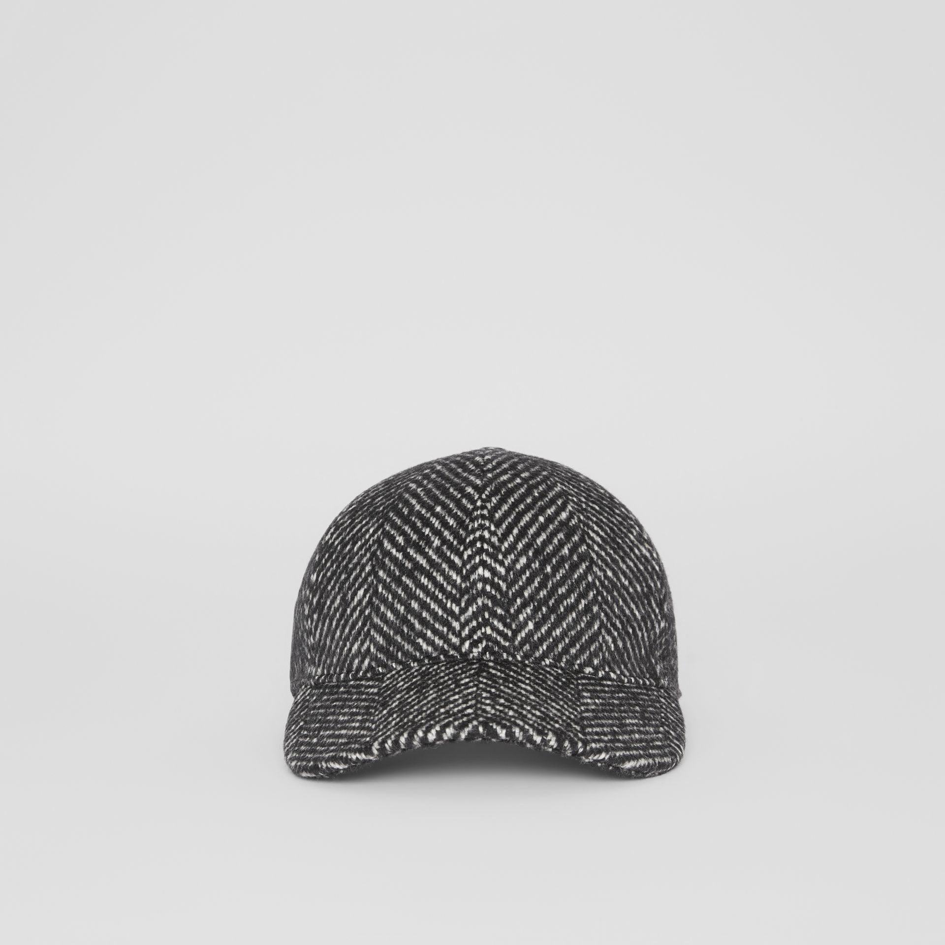 Herringbone Wool Silk Blend Baseball Cap in Black | Burberry - gallery image 6