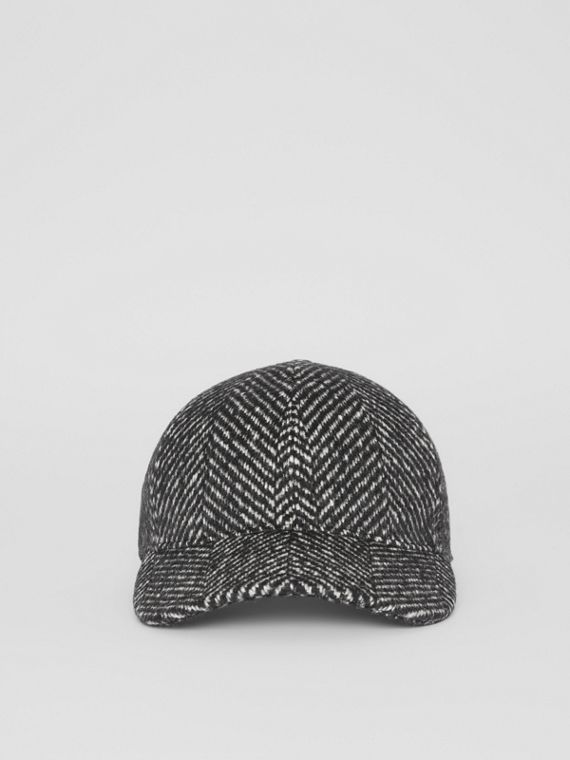 Herringbone Wool Silk Blend Baseball Cap in Black