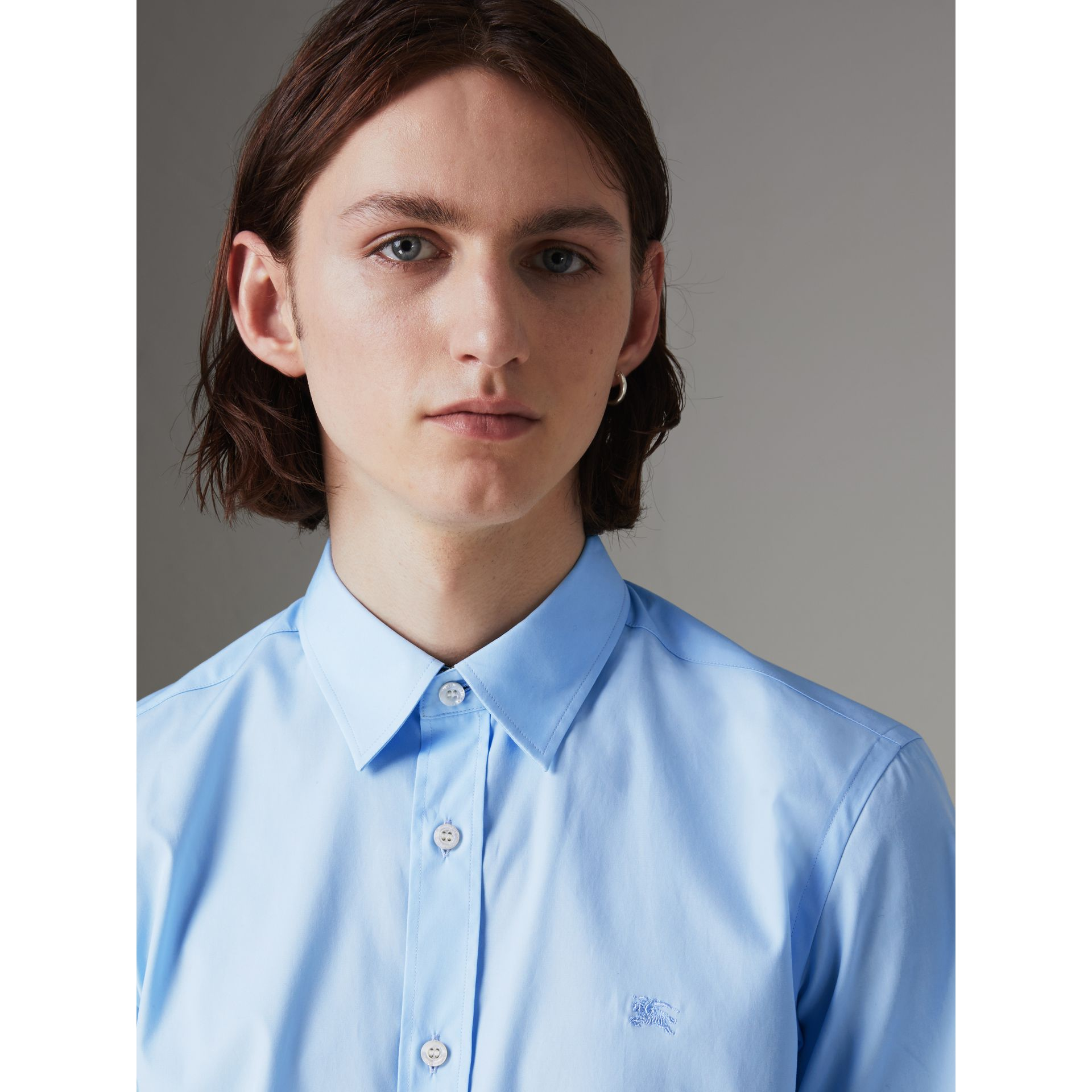 Short-sleeve Stretch Cotton Shirt in Pale Blue - Men | Burberry United Kingdom - gallery image 1