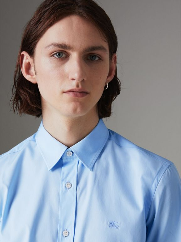 Short-sleeve Stretch Cotton Shirt in Pale Blue - Men | Burberry - cell image 1