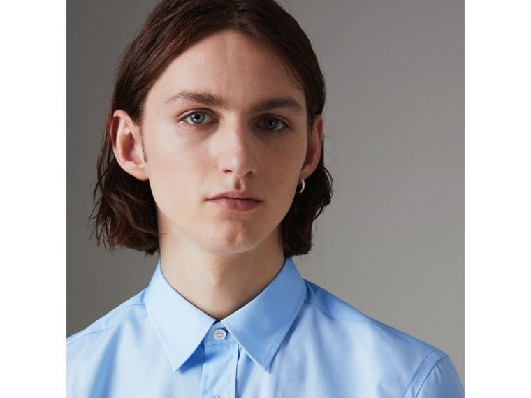 Short-sleeve Stretch Cotton Shirt in Pale Blue - Men | Burberry United Kingdom - cell image 1