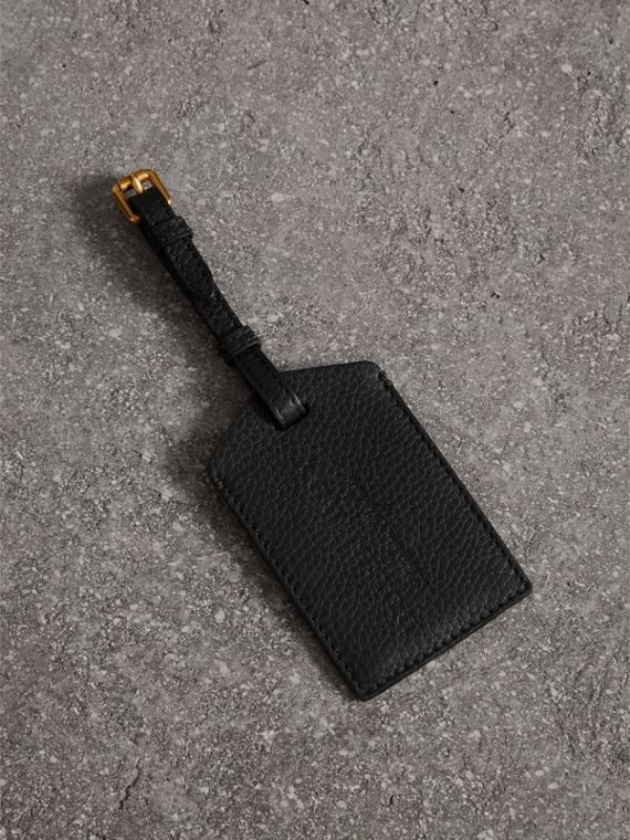 Grainy Leather Luggage Tag in Black