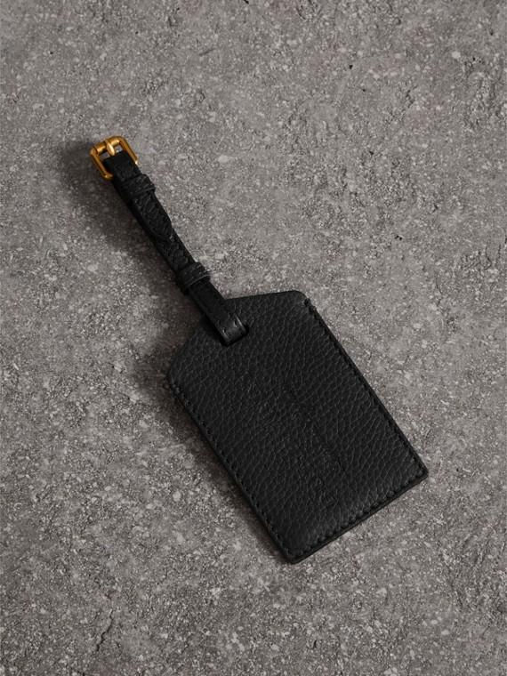 Gepäckanhänger aus genarbtem Leder (Schwarz)