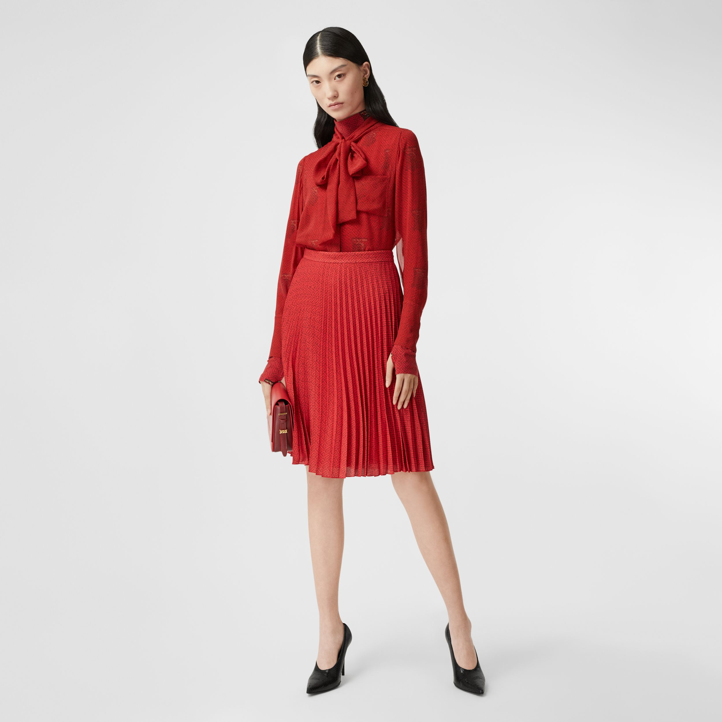 Monogram Print Silk Chiffon Pussy-bow Blouse in Bright Red - Women | Burberry - 1