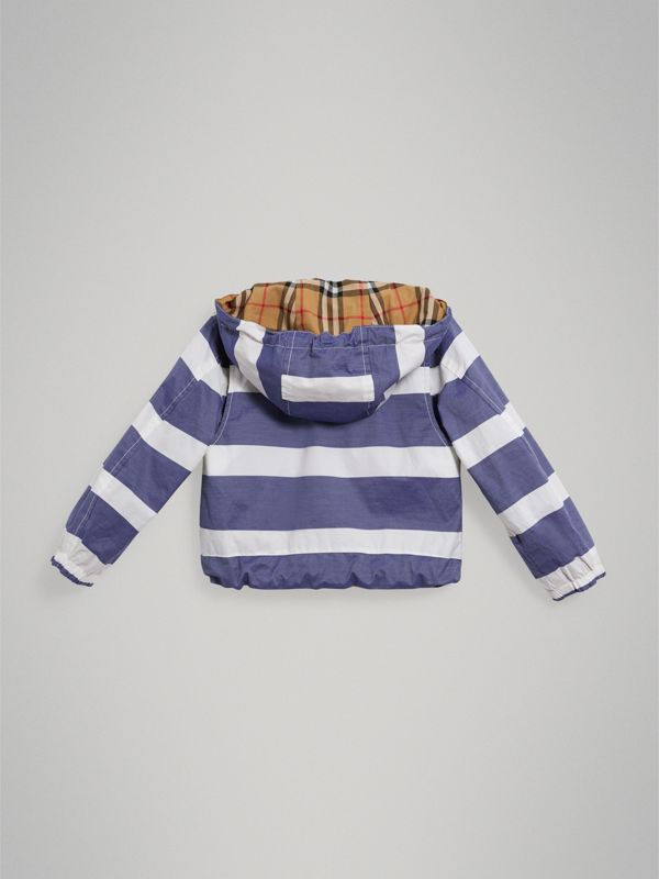 Reversible Stripe and Vintage Check Cotton Jacket in Navy/white | Burberry Australia - cell image 3