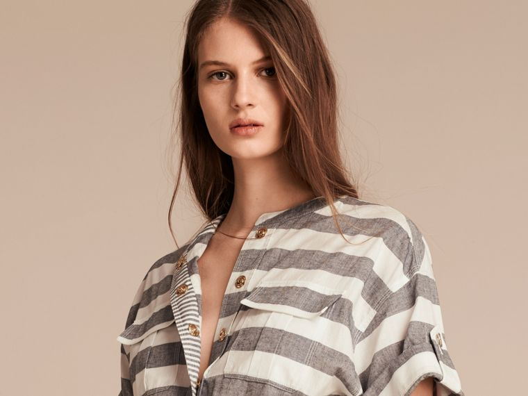White Striped Belted Cotton Dress - cell image 4