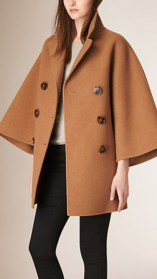 Double-Breasted Wool Poncho Coat
