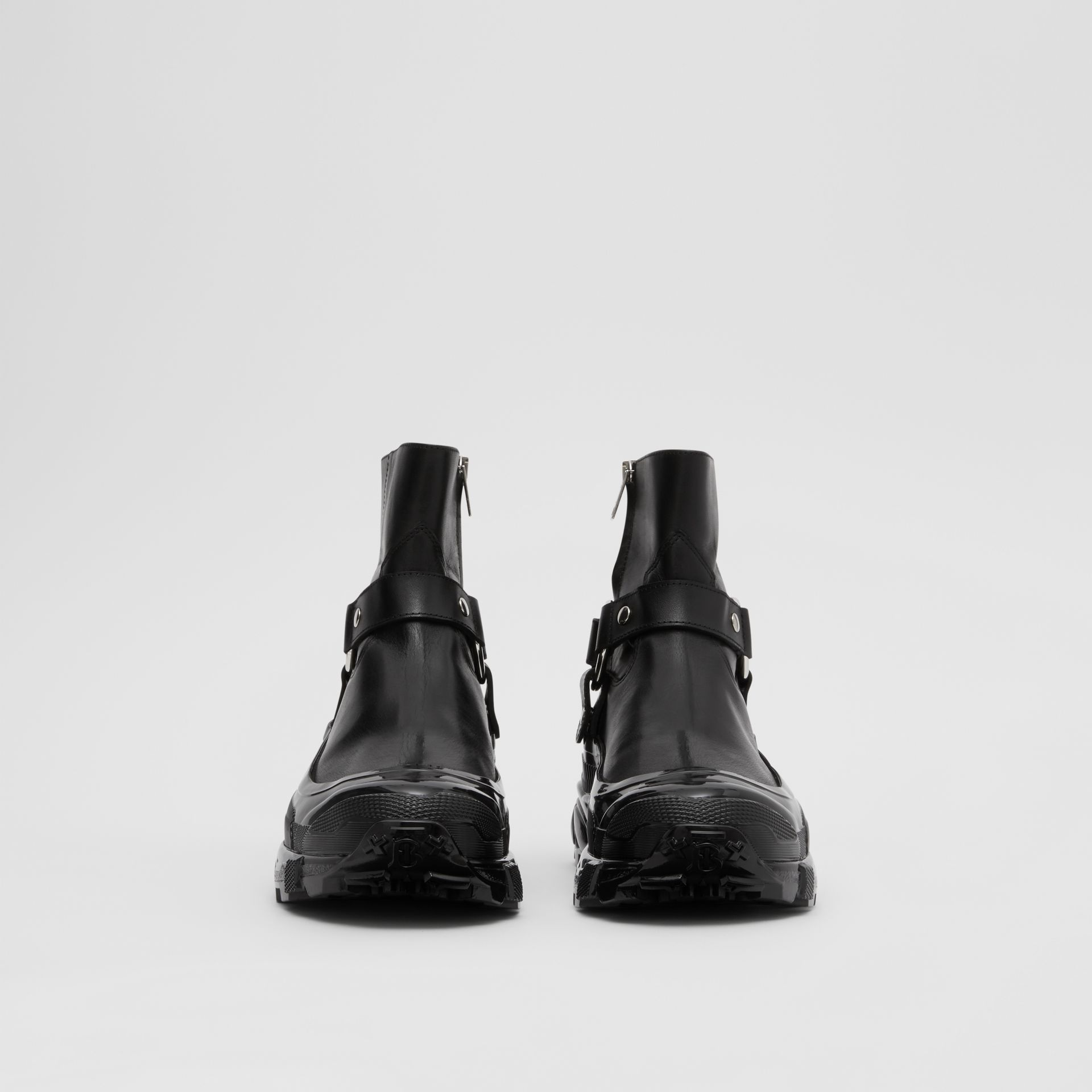 Monogram Motif Buckle Leather Boots in Black - Women | Burberry Singapore - gallery image 3
