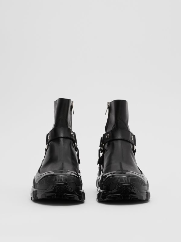 Monogram Motif Buckle Leather Boots in Black - Women | Burberry Singapore - cell image 3