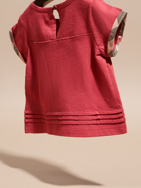 Rosa prugna scuro T-shirt in cotone con finitura check - cell image 3