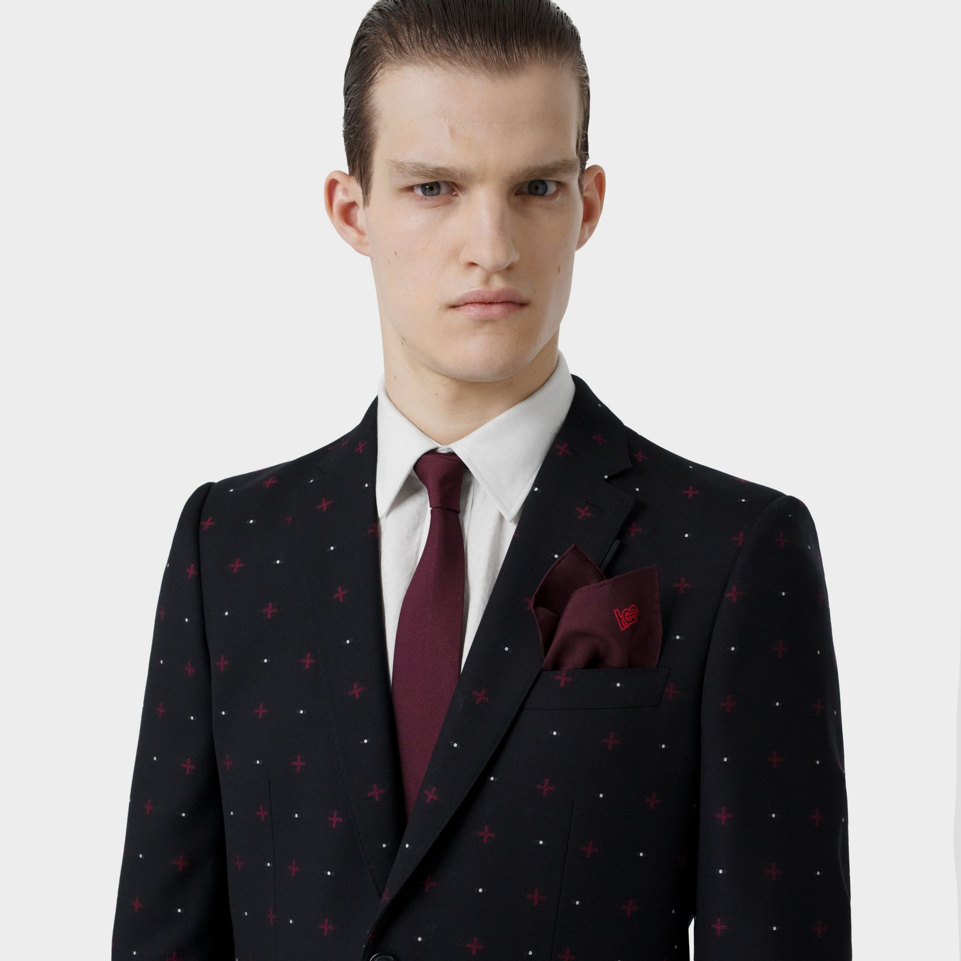 Monogram Motif Silk Pocket Square in Burgundy - Men | Burberry - gallery image 2