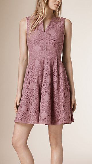 English Lace A-line Sleeveless Dress