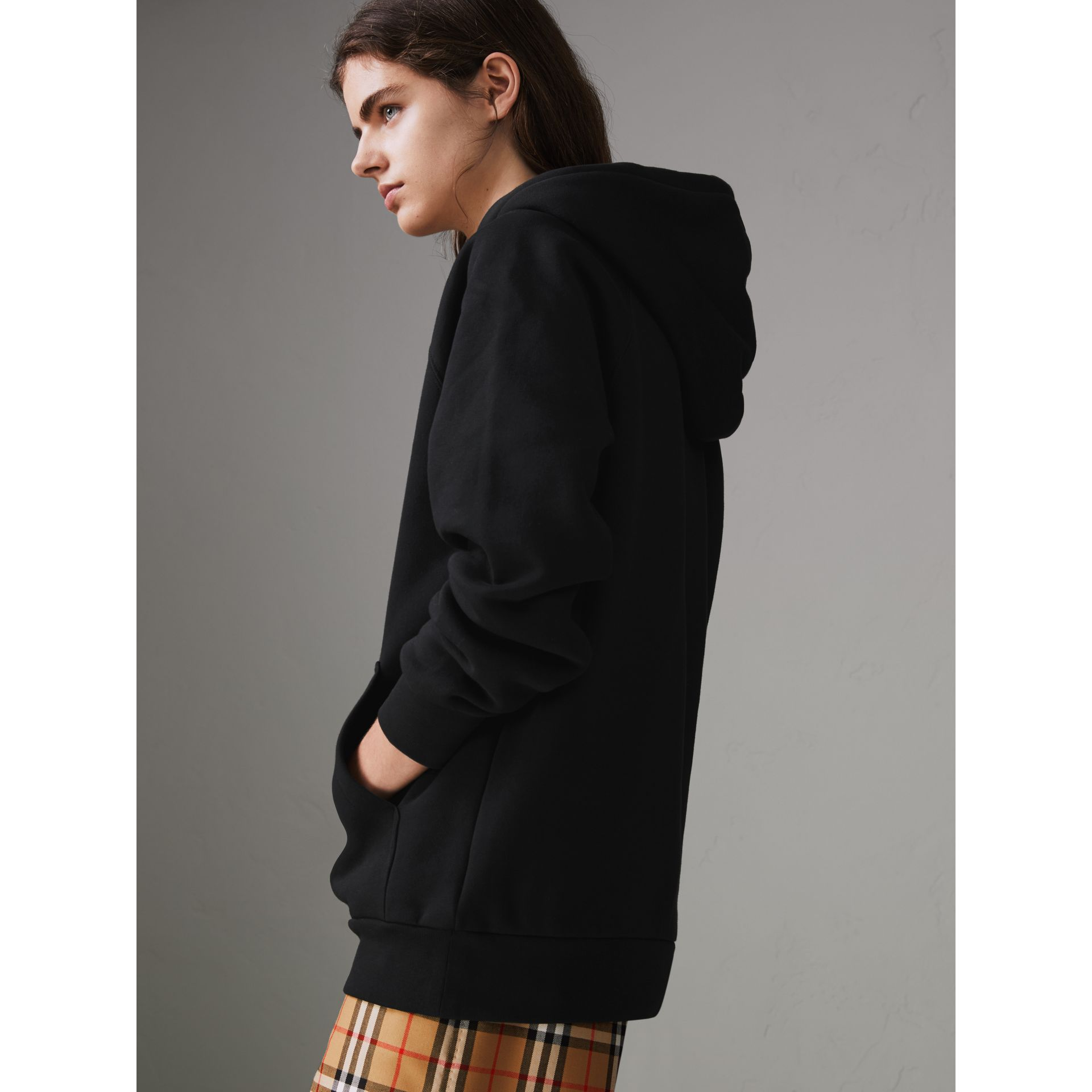 Embroidered Archive Logo Oversized Hoodie in Black - Women | Burberry United States - gallery image 2