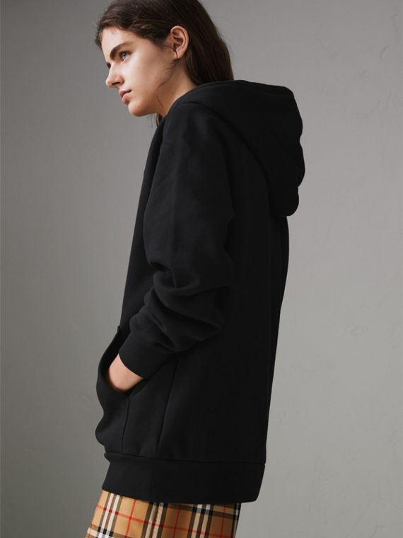 Embroidered Archive Logo Oversized Hoodie in Black - Women | Burberry United States - cell image 2