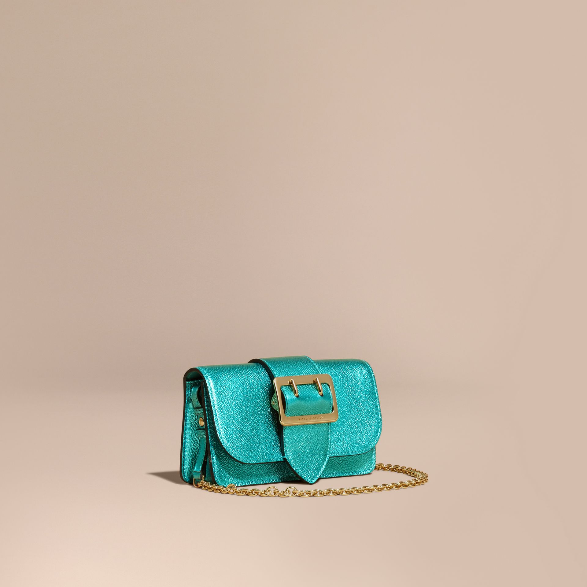 Emerald The Mini Buckle Bag in Metallic Grainy Leather Emerald - gallery image 1