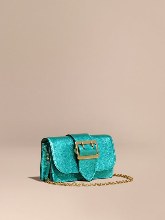 The Mini Buckle Bag in Metallic Grainy Leather Emerald