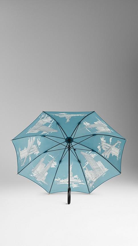 Dark cyan print New York Landmarks Walking Umbrella - Image 2