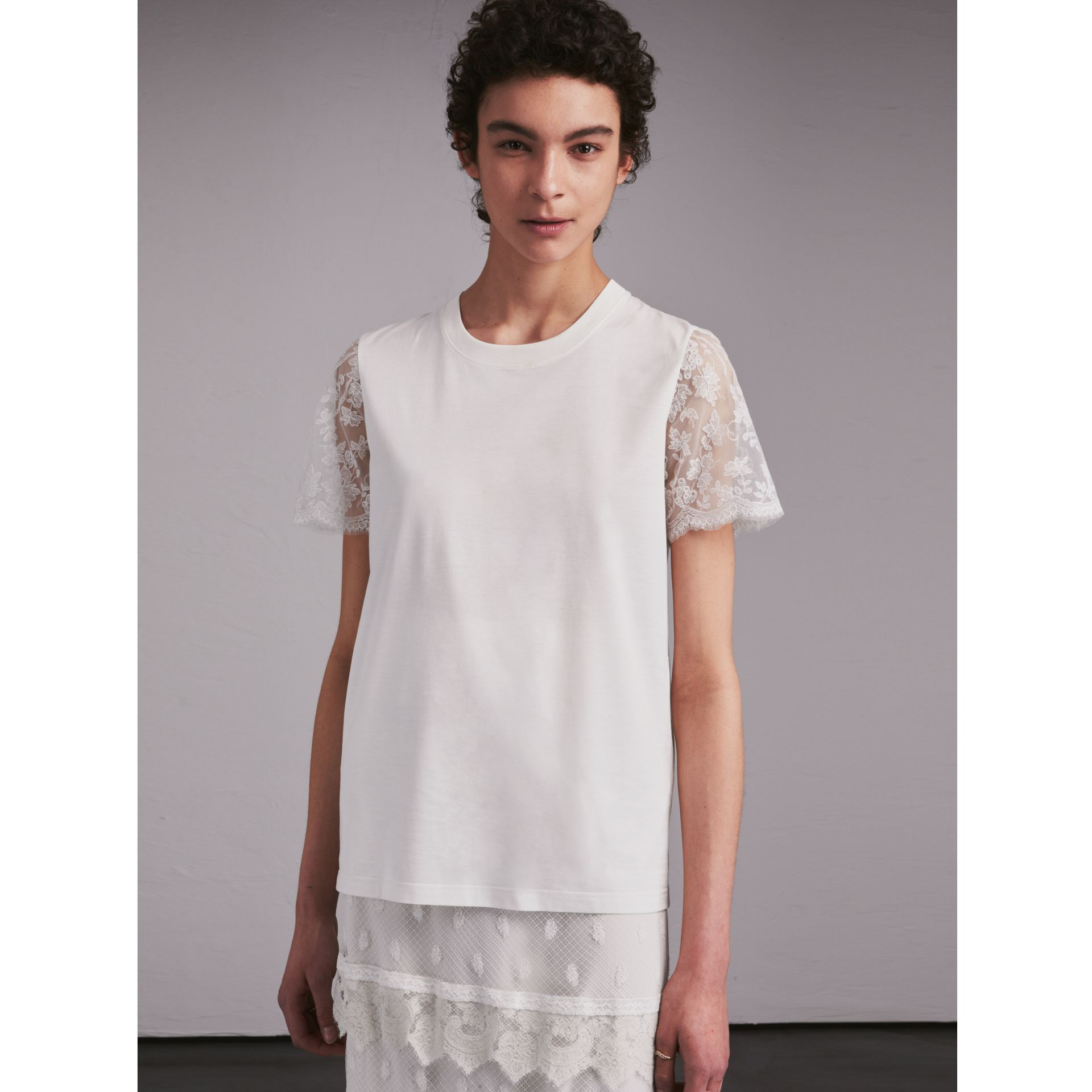 Tulle-sleeve Cotton T-Shirt - gallery image 1