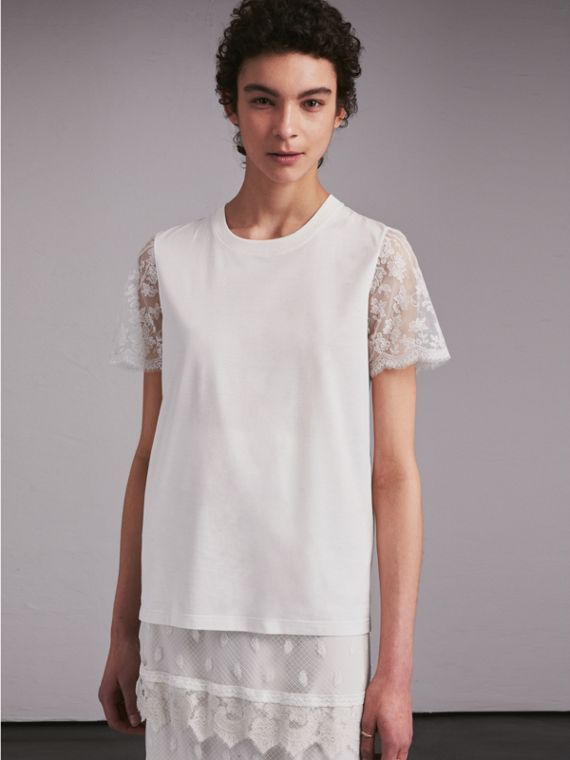 Tulle-sleeve Cotton T-Shirt