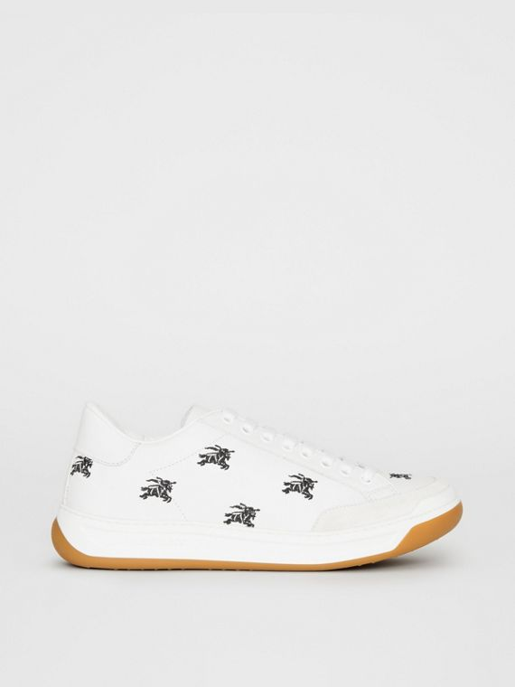 Equestrian Knight Embroidered Leather Sneakers in Optic White
