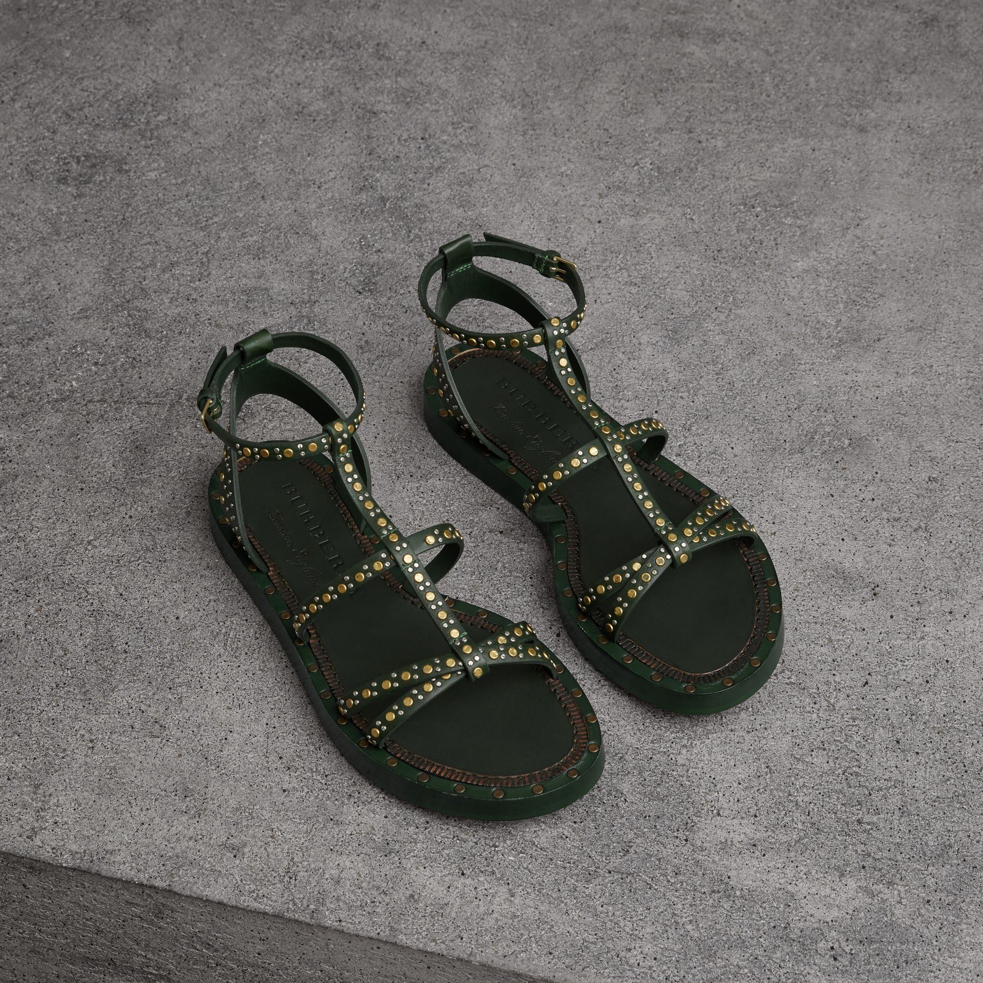 Riveted Leather Gladiator Sandals in Dark Green - Women | Burberry - gallery image 0