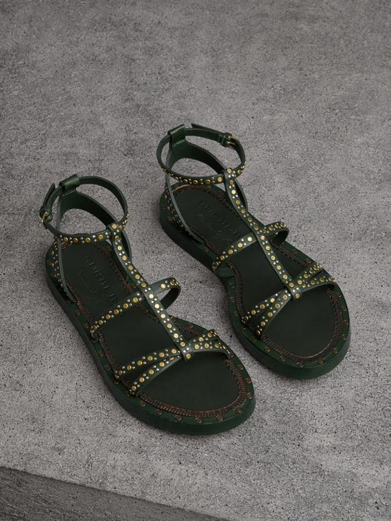 Riveted Leather Gladiator Sandals in Dark Green