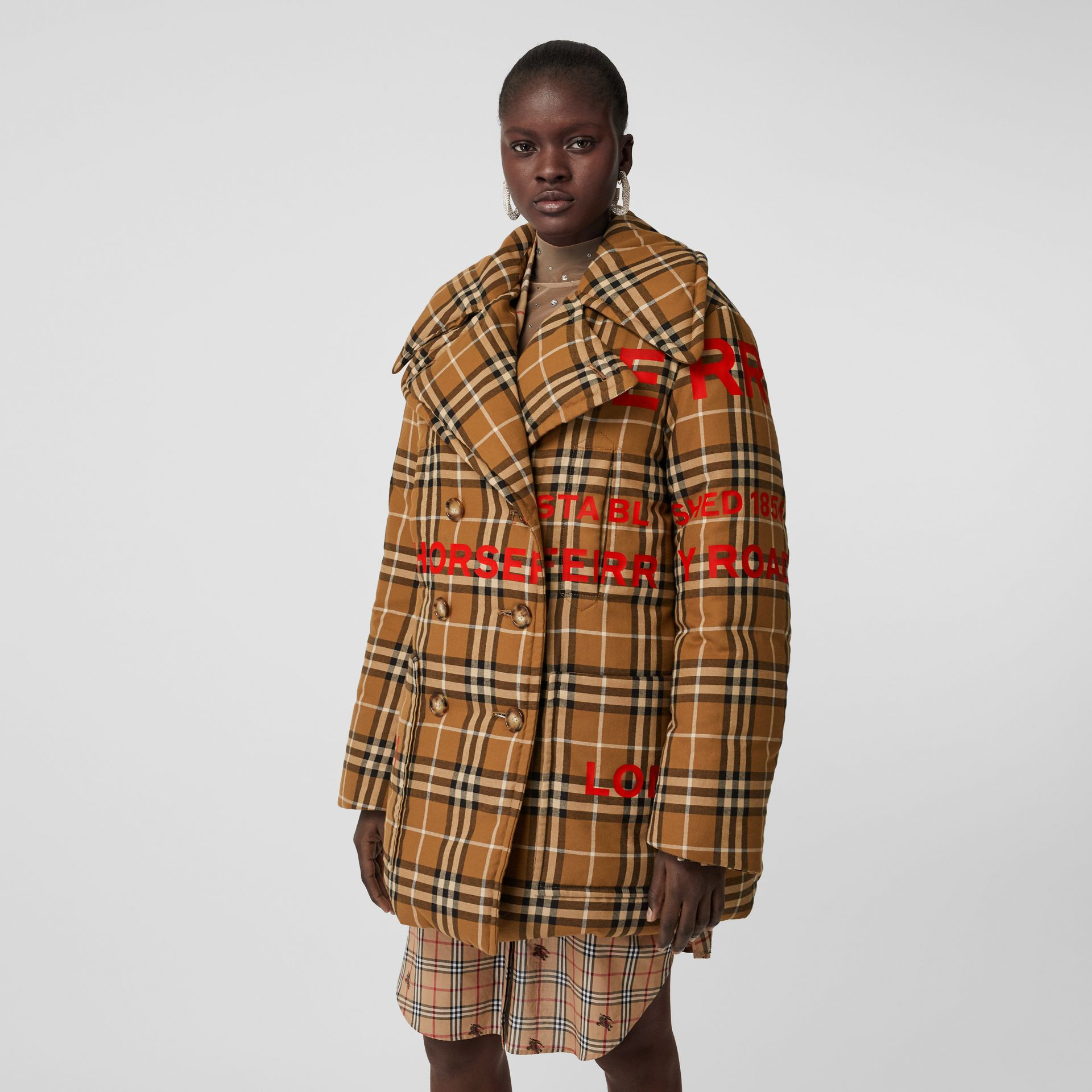 Horseferry Print Check Down-filled Oversized Pea Coat in Warm Walnut - Women | Burberry Singapore - gallery image 4