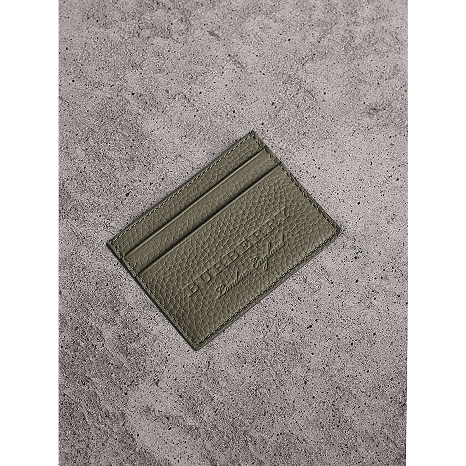 Textured Leather Card Case in Slate Green - Men | Burberry - gallery image 0