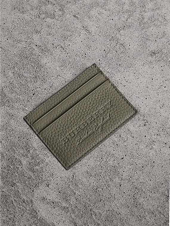 Porta-cartões de couro texturizado (Verde Ardósia)