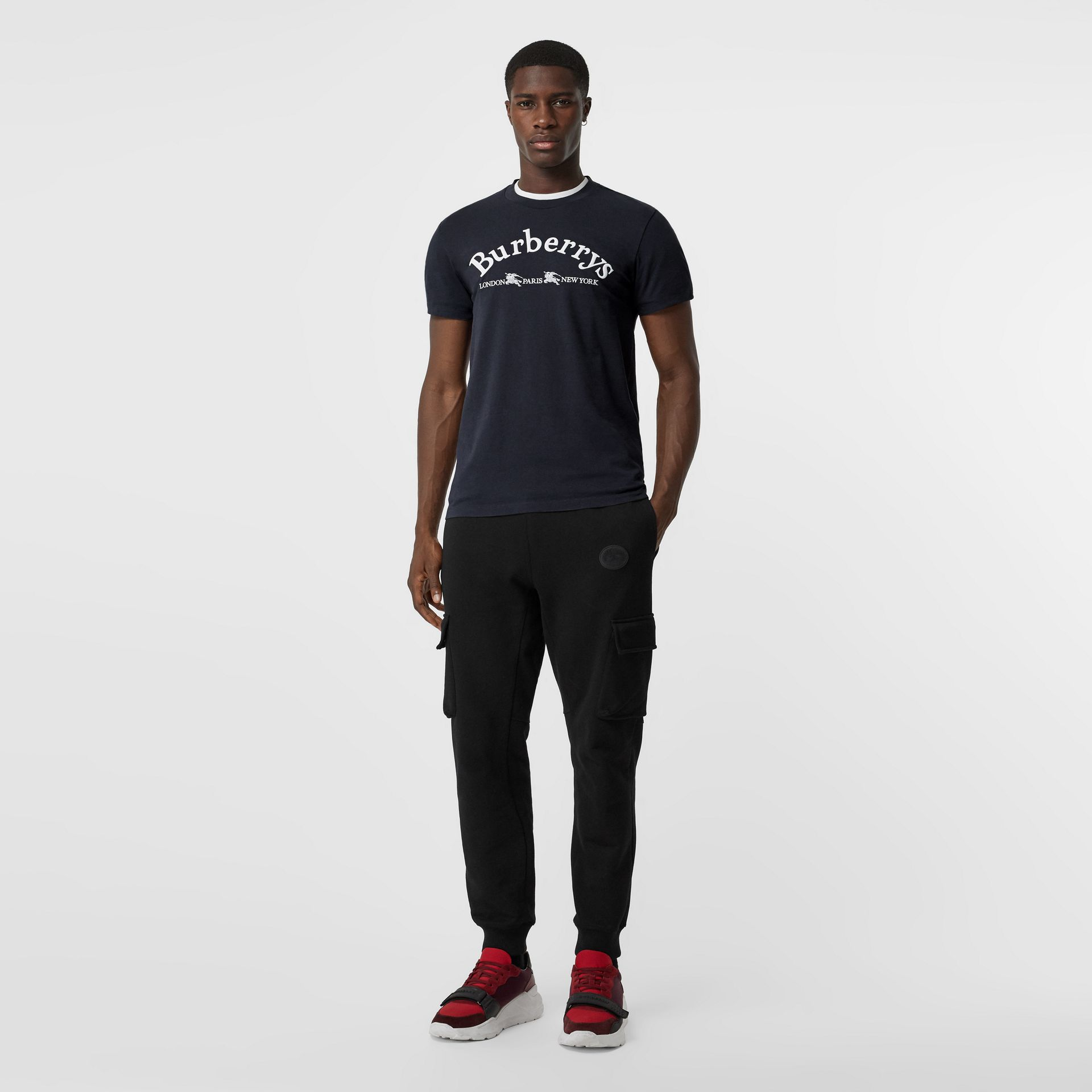 Archive Logo Cotton T-shirt in Navy - Men | Burberry - gallery image 0