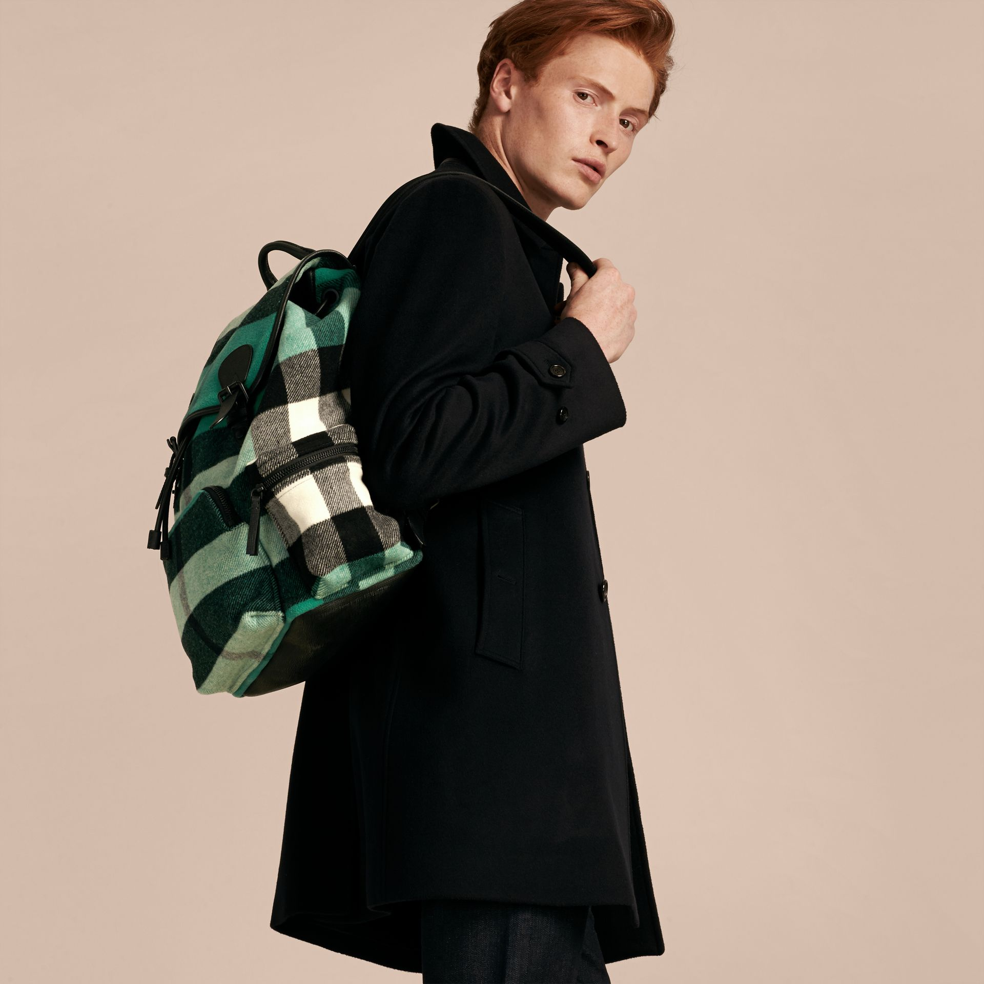 Emerald Wool Blend Woven Check Rucksack - gallery image 3