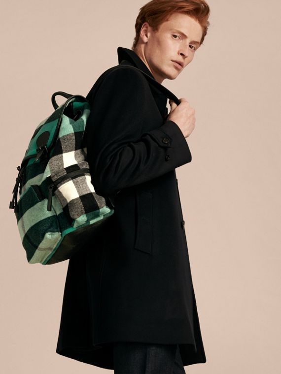 Emerald The Large Rucksack in Check Wool Blend and Leather Emerald - cell image 2