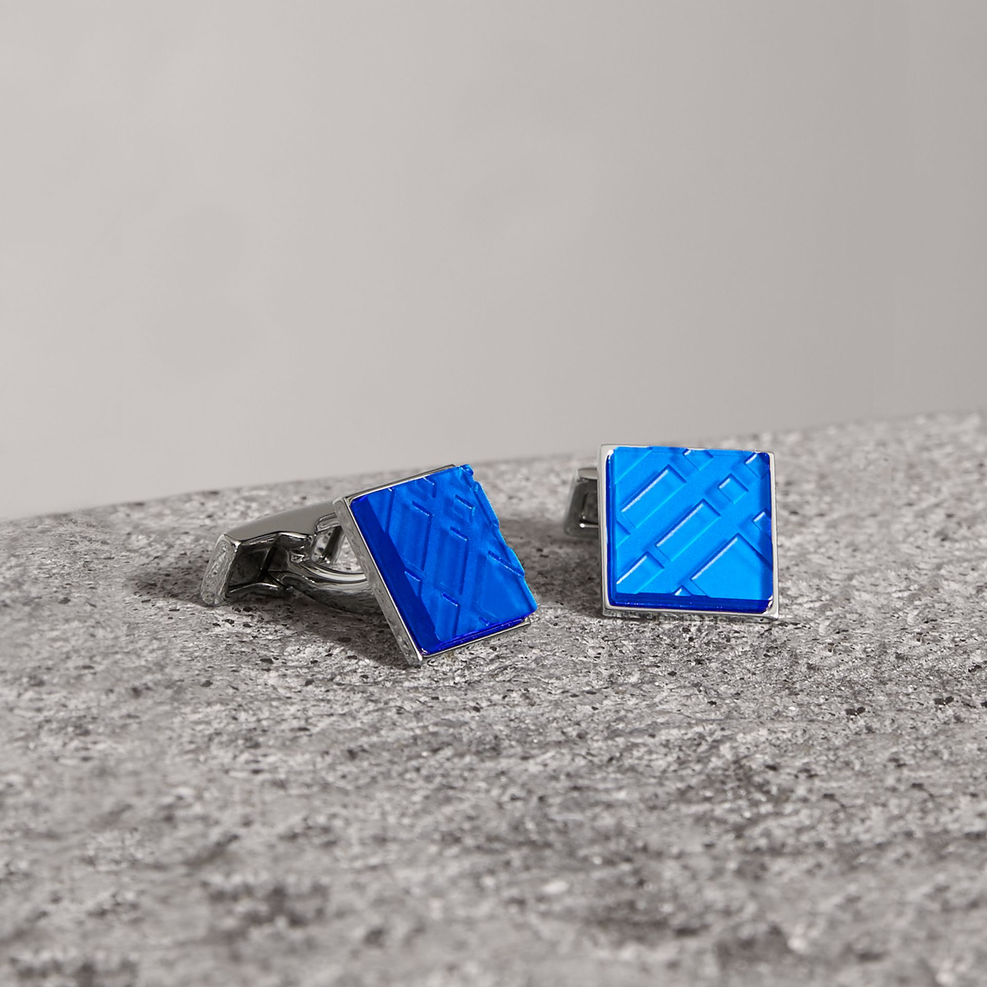 Check-engraved Square Cufflinks in Bright Blue - Men | Burberry United Kingdom - gallery image 0