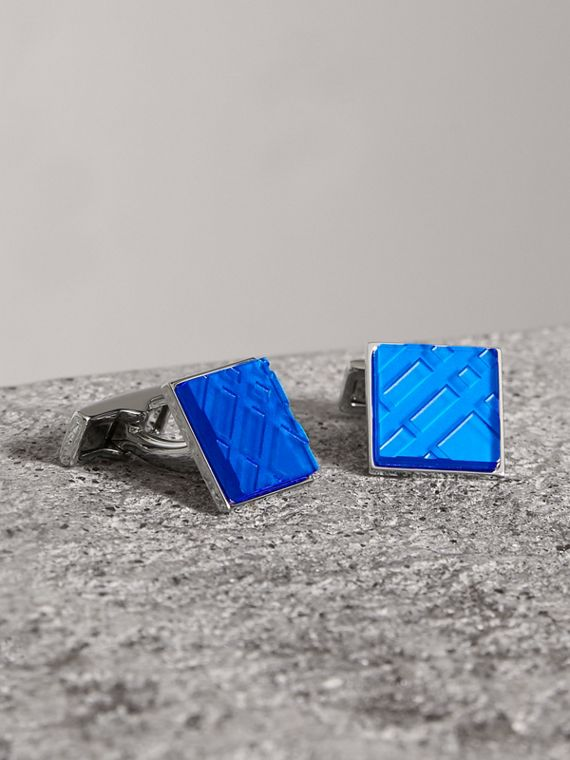 Check-engraved Square Cufflinks in Bright Blue