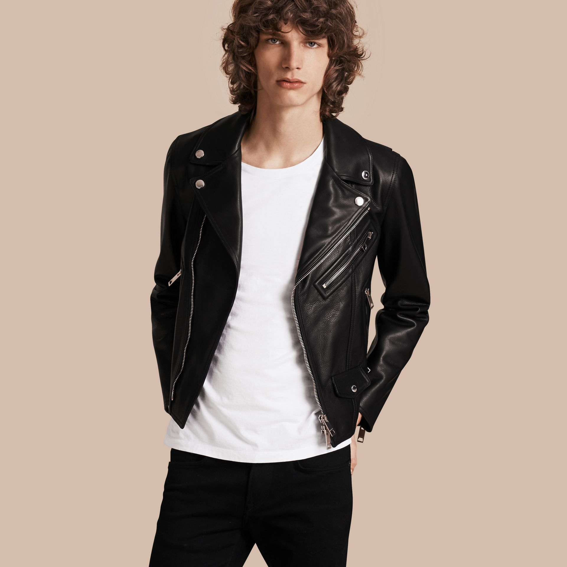 Black Clean-lined Leather Biker Jacket - gallery image 1