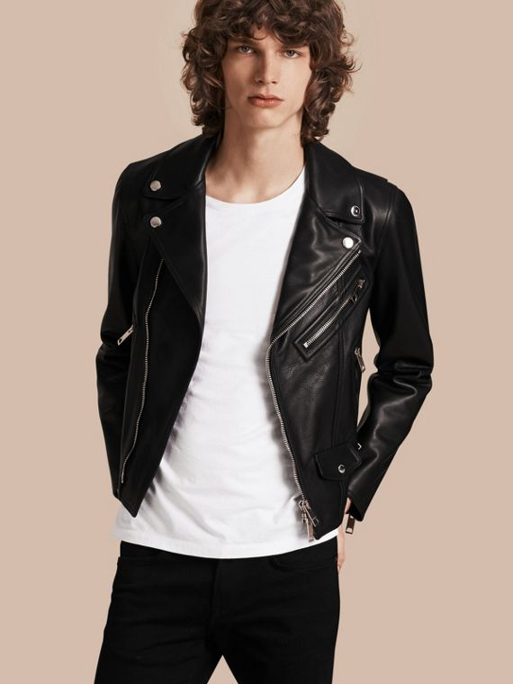 Clean-lined Leather Biker Jacket